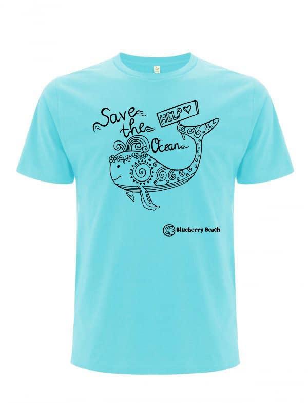 Blue save the oceans t-Shirt whale screen print