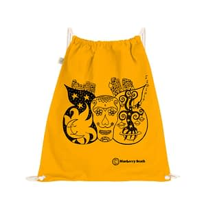 Organic cotton gym bag with a sugar skull with butterfly wings on it, the sun and moon kissing, and the tree of life in the wings, printed with screen print