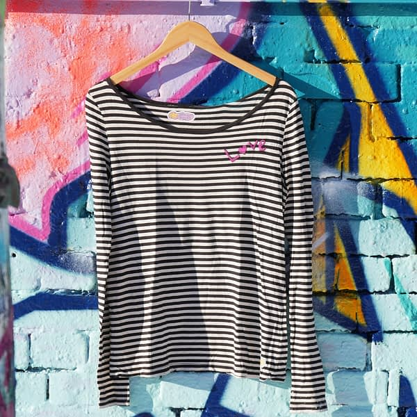 love striped longsleeve handpainted upcycled