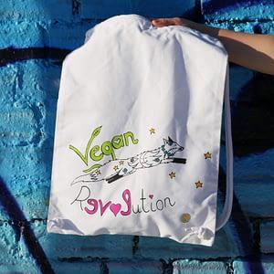 vegan revolution bio cotton gym bag by Blueberry beach