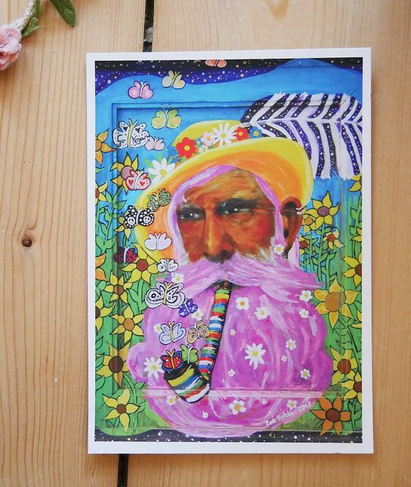 Mann mit gelben Hut Postkarte