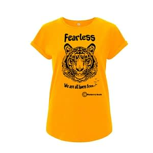 Organic t-shirt with screen print tiger and fearless we are all born free