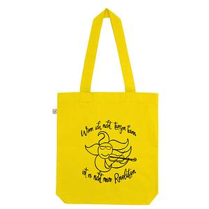 """Organic cotton tote bag with sun and moon screen print and the text """" wenn ich nicht tanzen kann ist es nicht meine Revolution"""