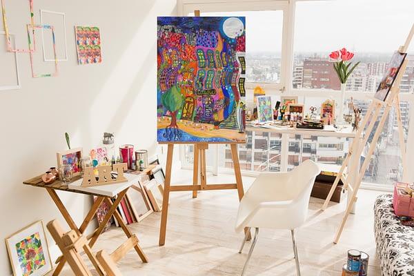 wunderbar - dreamy city painting hundertwasser inspired