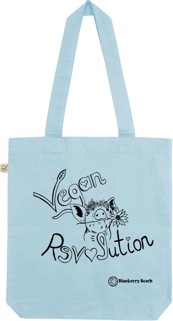 Vegan revolution pig with flowercrown screen print tote bag