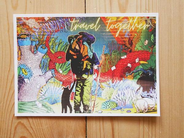 Travel together art postcard