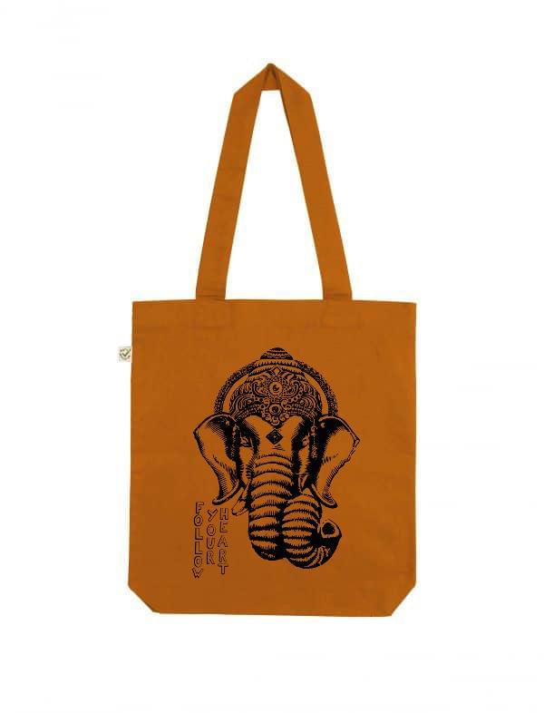 Ganesha follow your heart organic tote bag cinnamon