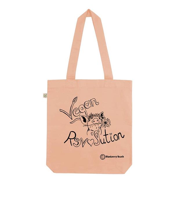 Vegan revolution peach tote bag