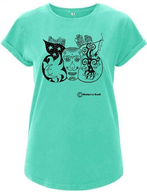 Sugar skull mint organic t-shirt