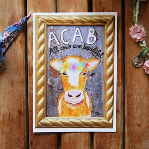 acab all cows are beautiful cow with flowercrown painting postcard
