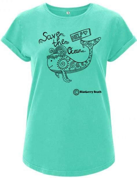 Save the ocean mint organic t-Shirt whale screen print