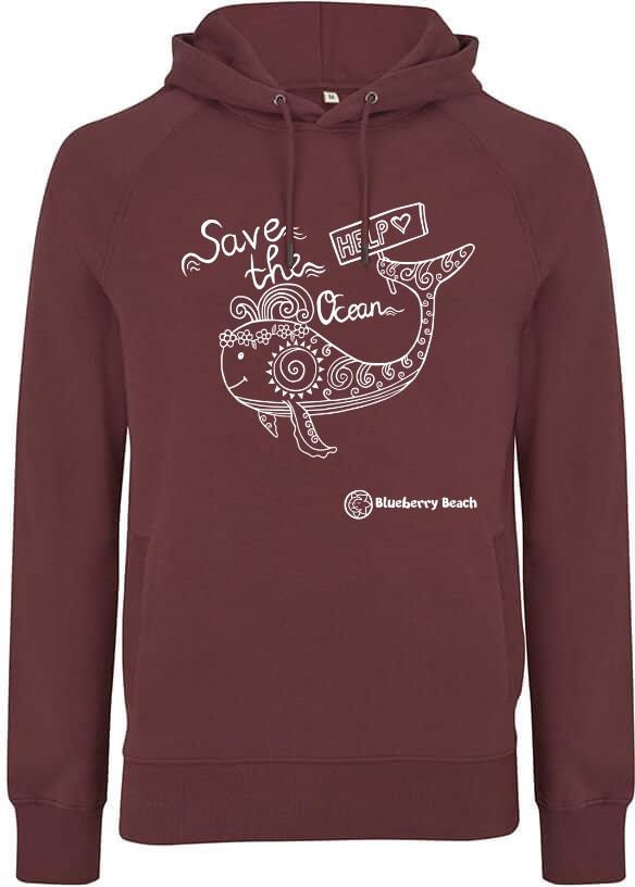 Save the oceans organic hoodie burgundy