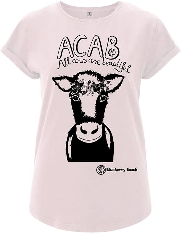 Acab all cows are beautiful organic t-shirt screen print