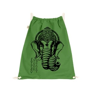 Organic cotton gym sack with Ganesha screen print on it and follow your heart text