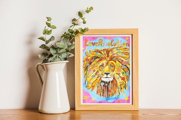 lion painting, flowercrown, flower in hair loverevolution