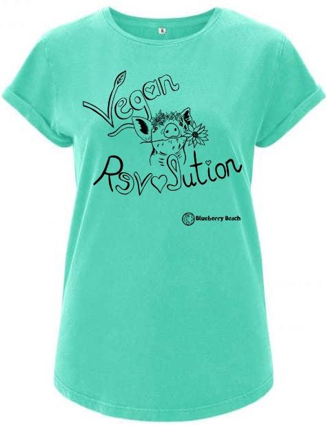 Vegan Revolution mint organic t-shirt