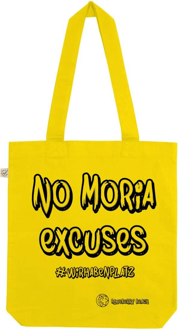 No Moria excuses lemon yellow tote bag