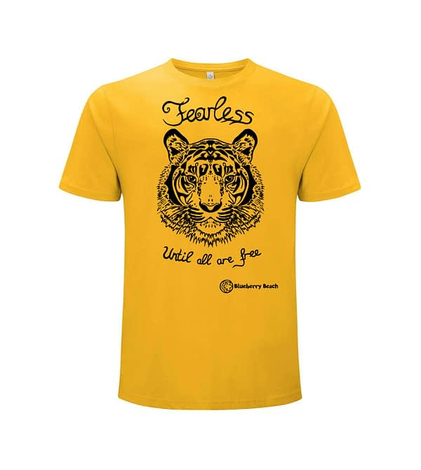 Organic t-shirt with tiger screen print and text fearless until all are free written on it